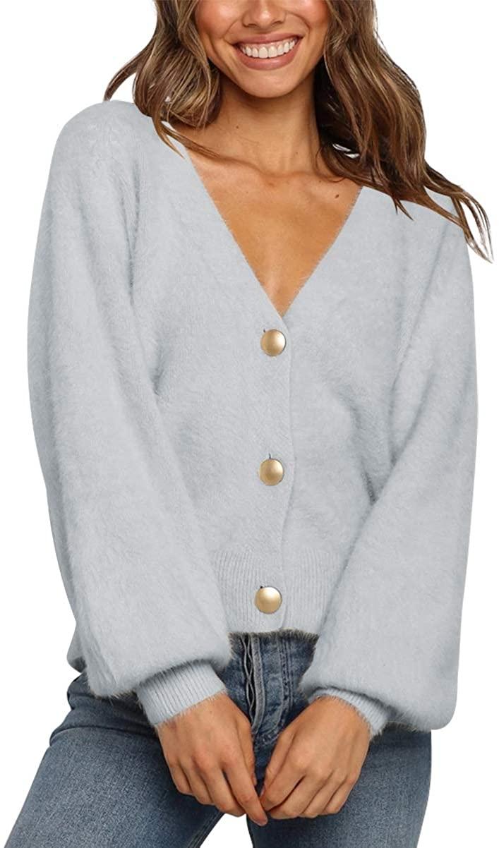 LOGENE Women's V Neck Long Sleeve Open Front Button Down Soft Knit Fluffy Cardigan Sweater