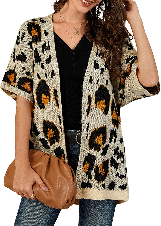 Tutorutor Womens Leopard Print Cardigan Sweaters Oversized Half Sleeve Open Front Summer Fall Loose Fit Draped Duster