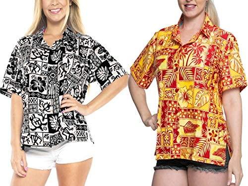 LA LEELA Womens Relaxed Hawaiian Shirt Blouse Tops Button Down Shirt Work from Home Clothes Women Beach Shirt Blouse Shirt Combo Pack of 2 Size Small