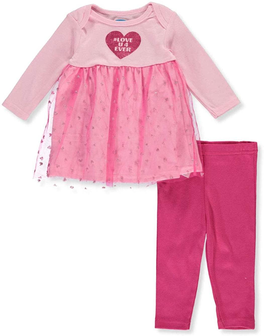 Bon Bebe Baby Girls Heart 2-Piece Leggings Set Outfit