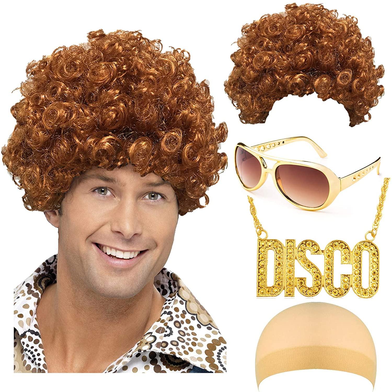 Disco King 1970s Halloween Costume Set - Disco Dirt Bag Dude Wig,Rockstar 50's, 60's Style Aviator Shades Sunglass,Disco Necklace Brown