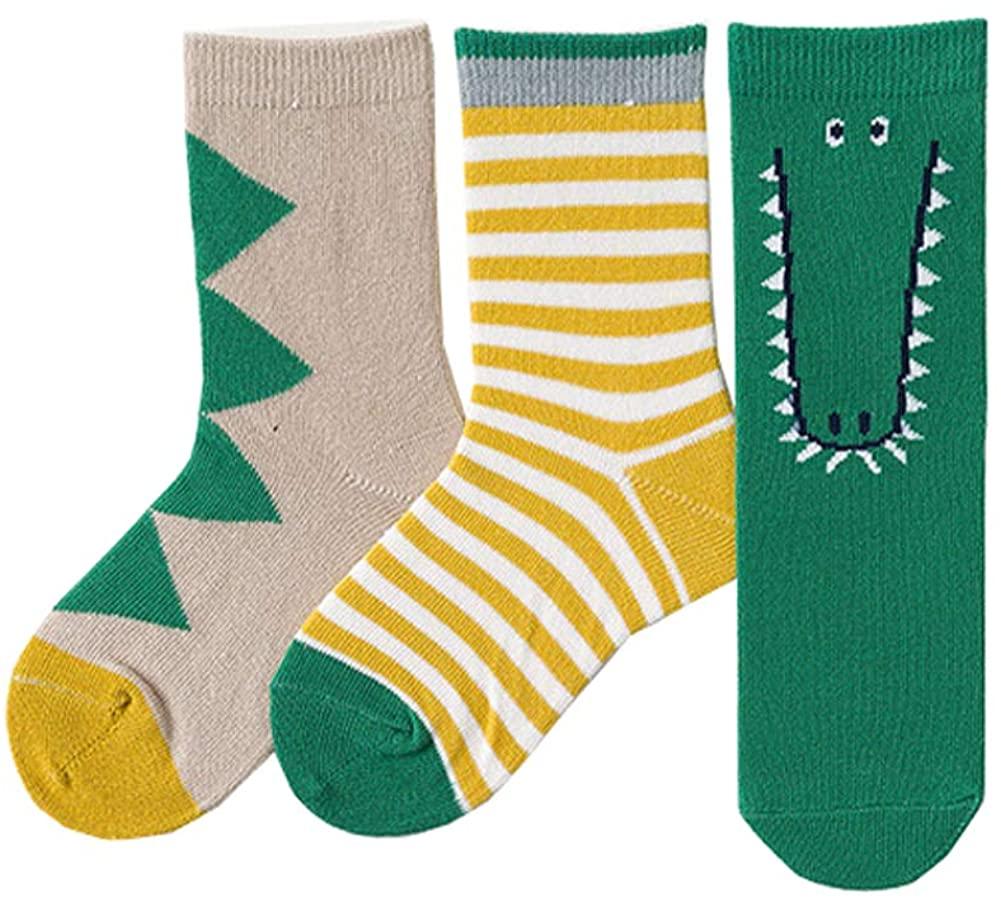 Age 2-12 Boy's Animal Dress Socks Kids Colorful Crew Socks Dinosaur/Crocodile/Shark/Tiger,3 Pairs