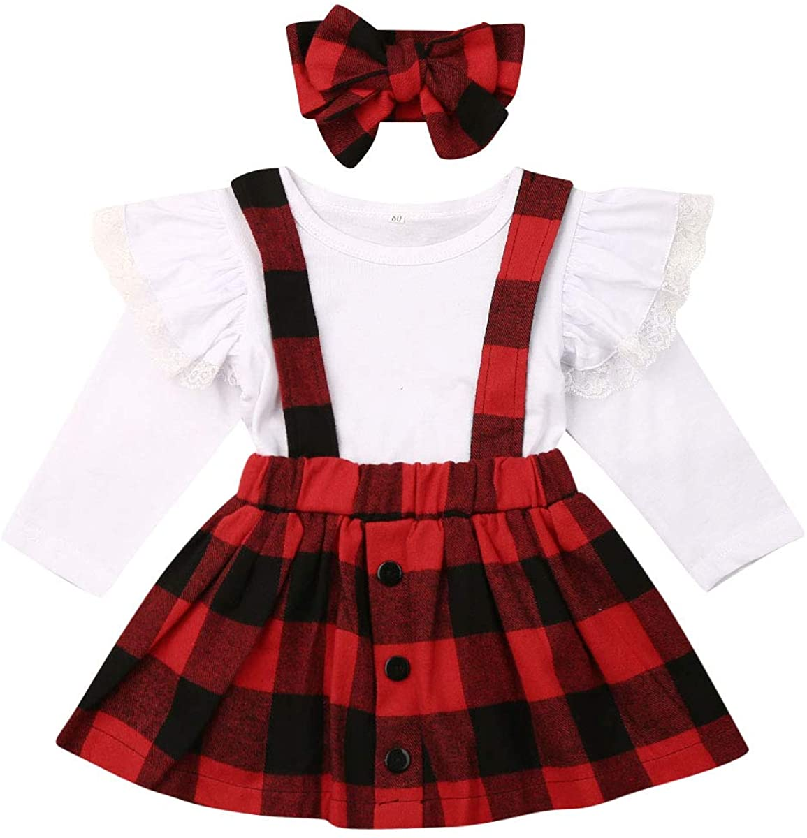 Toddler Baby Girls Clothes Fly Sleeve Lace Tops+ Plaid Bib Skirt+ Headband Outfit 3Pcs