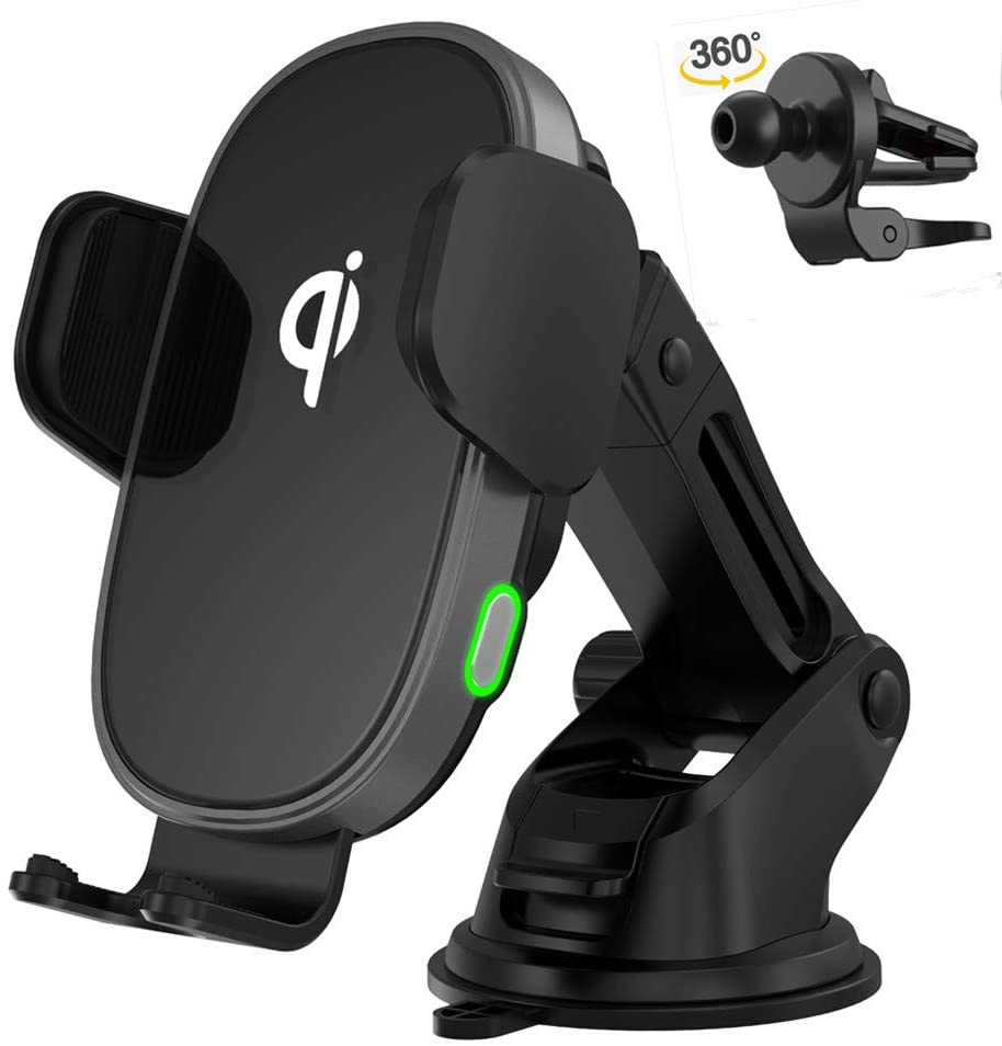 Qi Wireless Car Phone Charger Mount Auto Clamping Automatic Sensor Holder Fast Charger for iPhone 11 Pro 11 Max Xs XR X 8 8+ Samsung S10 S10+ S9 S9+ S8 S8+ S7 S6 Android Smart Phone 10W 7.5W 5W Type-C