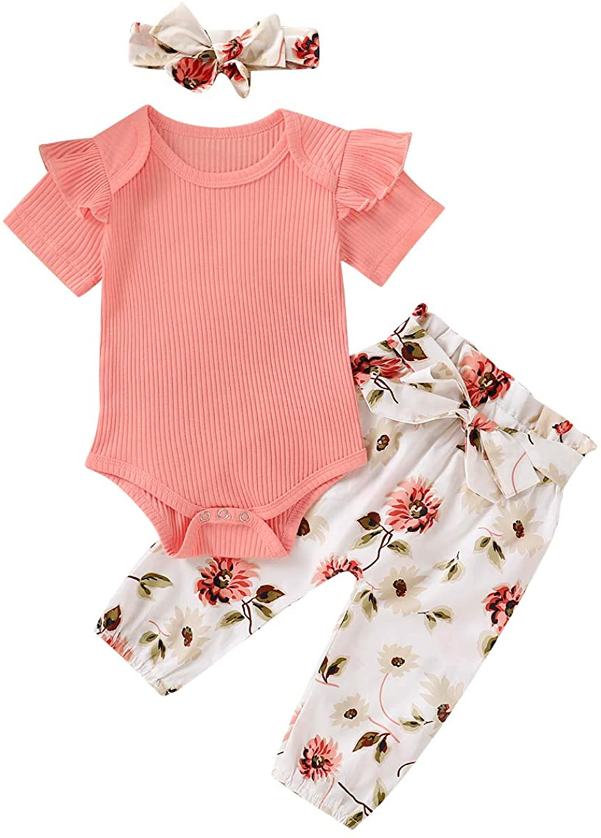 3PCS Infant Baby Girl Outfits Ruffle Short Sleeve Romper Bodysuit Tops Floral Pants Headband Summer Clothes Set