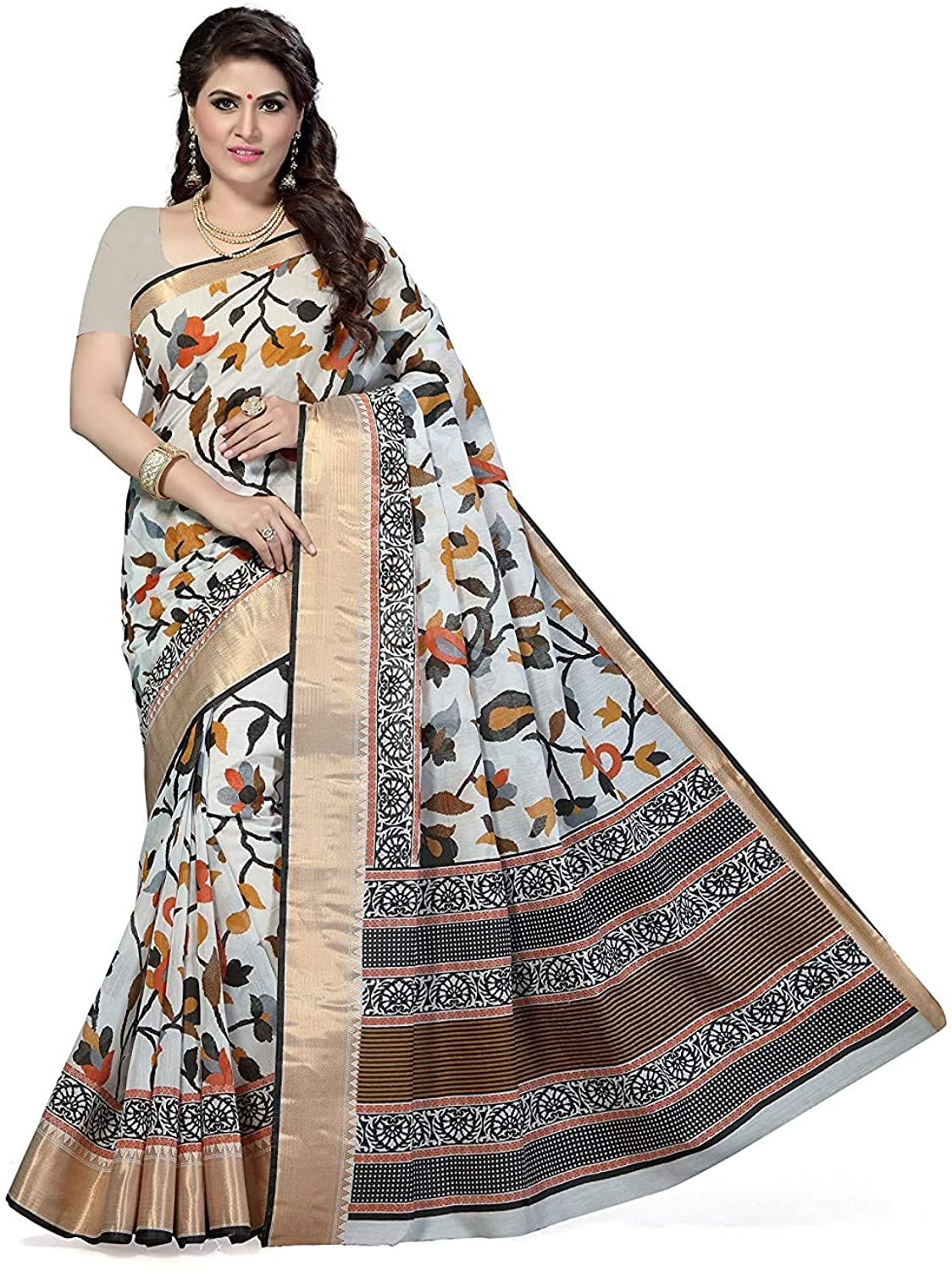 Indian Decor & Attire Poly Cotton Saree with Unstitched Blouse Piece White