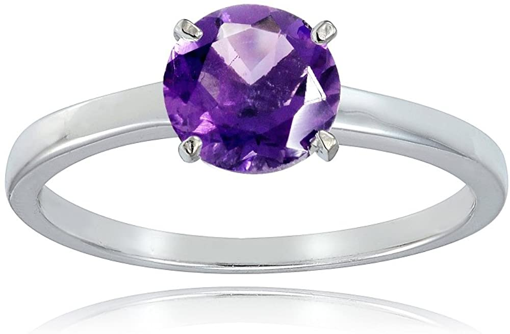 Sterling Silver African Amethyst 8mm Round Solitaire Bridal Engagement Ring