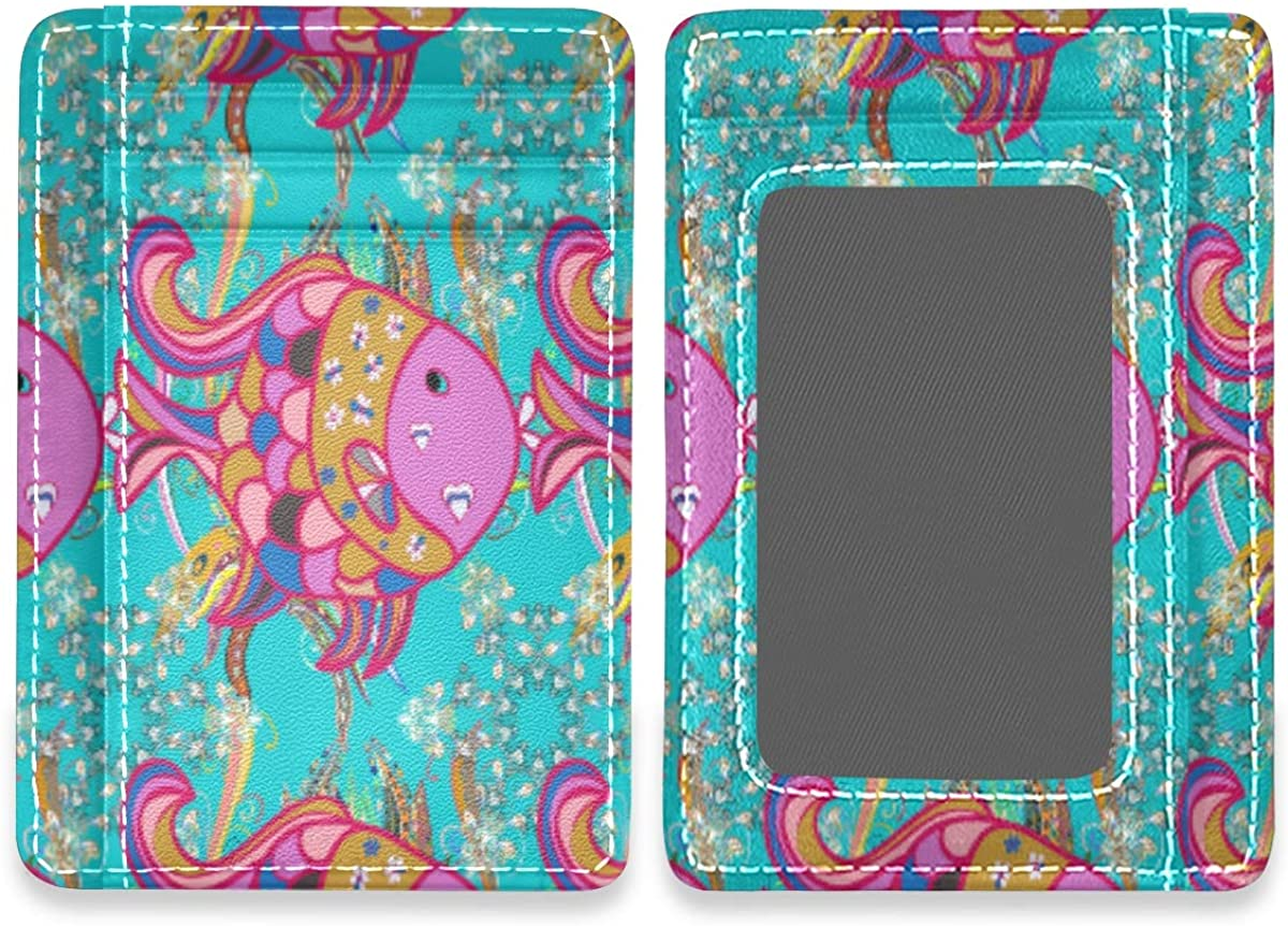 Seamless Floral Bright Butterfly Rfid Credit Card Holders Case Organizer Front Pocket Wallet Women Men