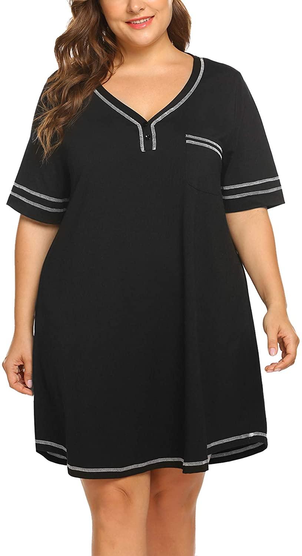 IN'VOLAND Women's Plus Size Nightgown V Neck Cotton Sleepdress Casual Pocket Short Sleeve Sleepwear(16W-28W)