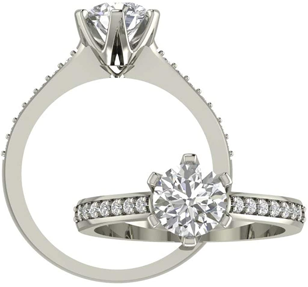 GNG 1CT Moissanite (DEF) Engagement Ring In Platinum Plated Sterling Silver