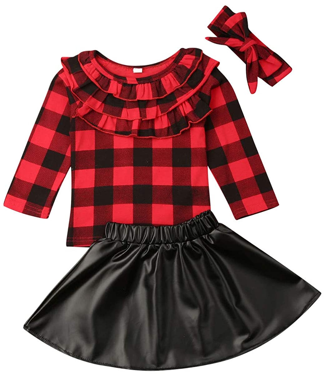 Toddler Baby Girl Christmas Outfits Ruffle Red Plaid T-Shirt Top+PU Leather Tutu Skirts Headhand 3pcs Winter Xmas Clothes