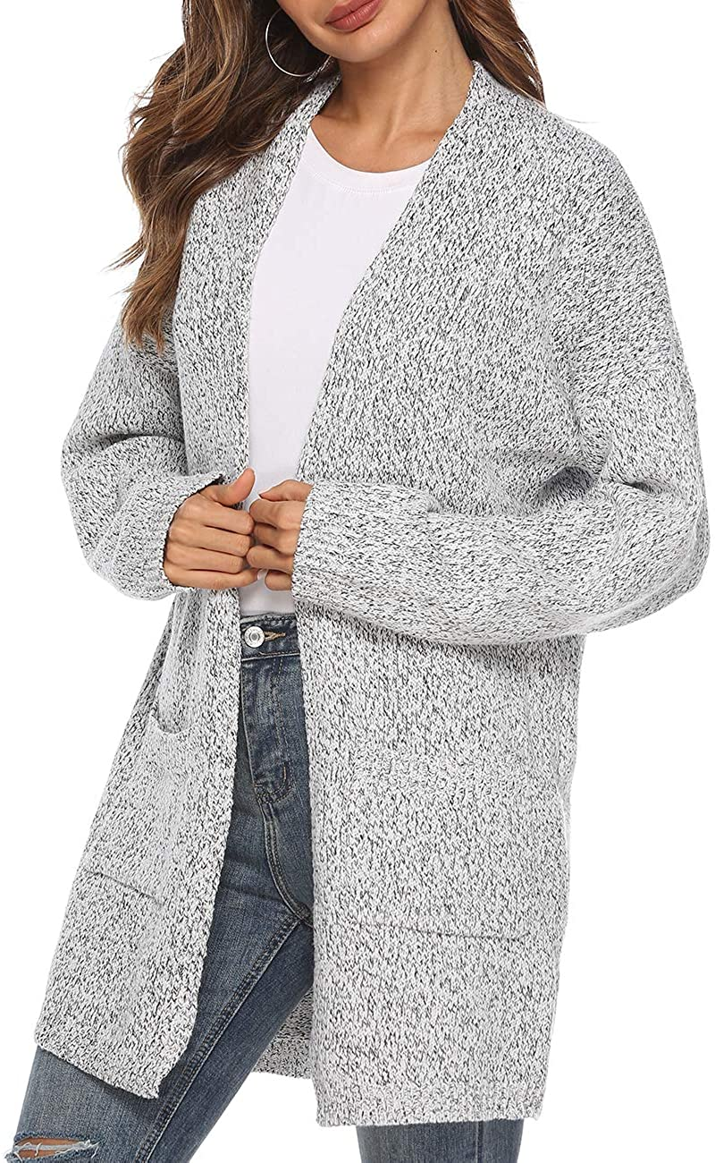 Ray-JrMALL Women's Casual Sweater Cardigan Open Front Long Sleeve Cable Knit Sweater Pockets