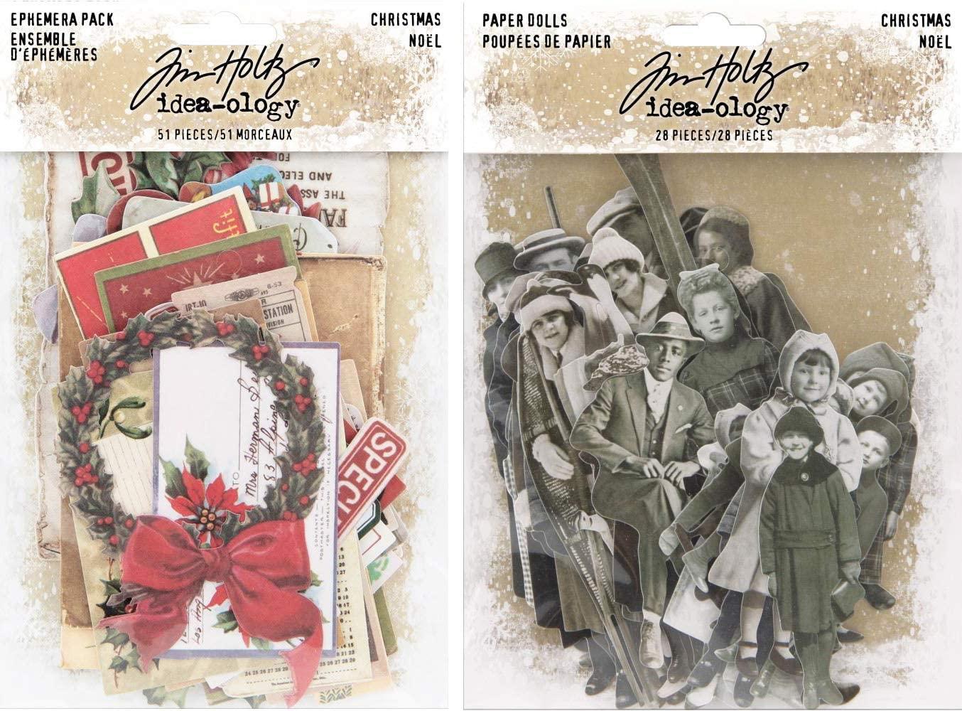 Tim Holtz Idea-Ology 2019 Christmas Ephemera and Christmas Paper Dolls - 2 Item Bundle