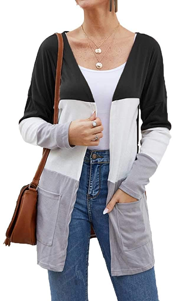 Miselon Womens Open Front Color Block Cardigan Long Sleeve Lightweight Duster with Pockets