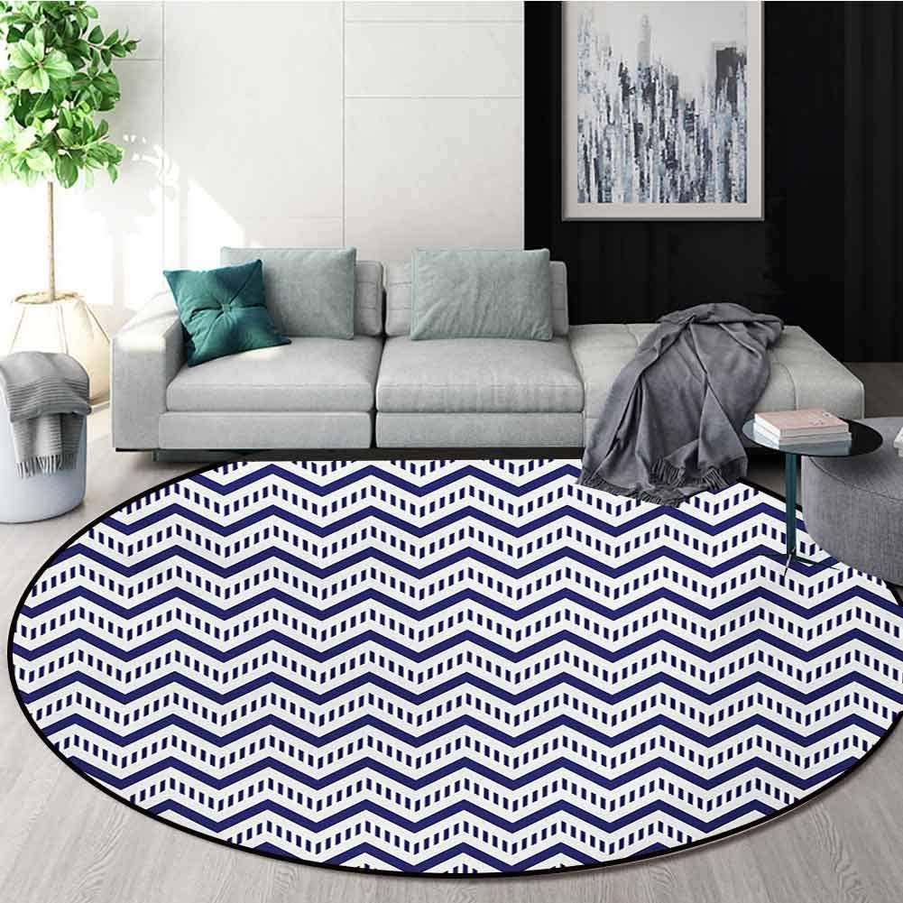 RUGSMAT Chevron Machine Washable Round Bath Mat,Geometrical Zig Zag Striped Pattern On White Background Modern Art Design Non-Slip No-Shedding Bedroom Soft Floor Mat,Round-39 Inch