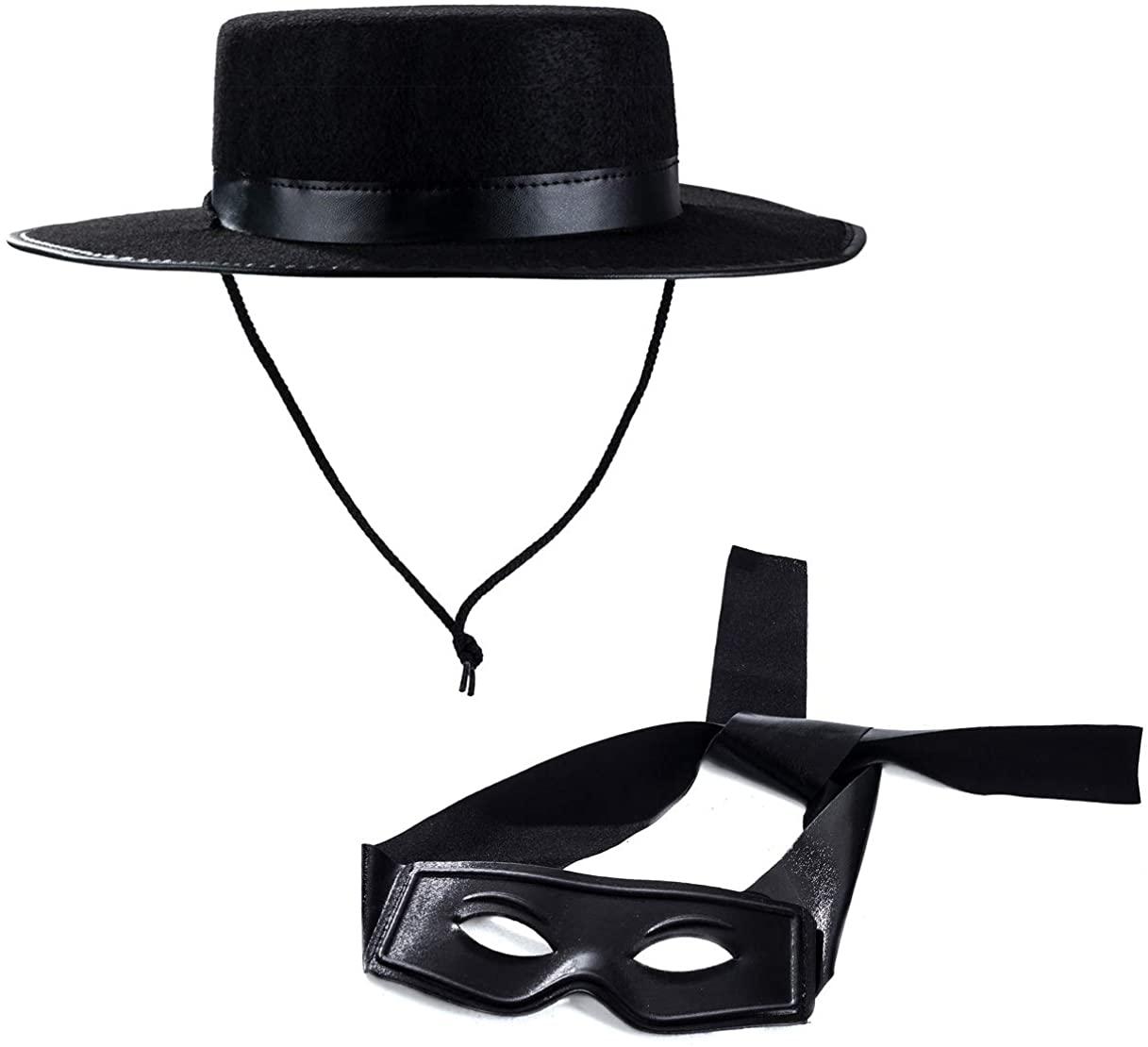 Tigerdoe Zorro Costume - Zorro Hat and Mask - Zorro Accessories - Costume Accessories Black