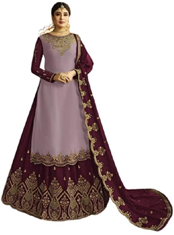 Lady Dwiza Ethnic Embroidered Designer Satin Georgette Fabric Lehenga Suit for Women