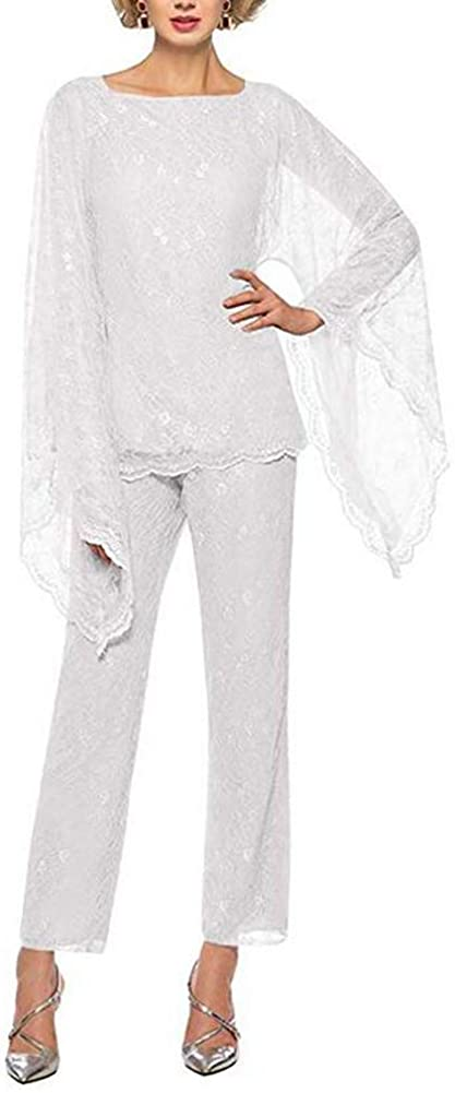 Women's White Formal Mother of The Bride Dress Pant Suits 3 Pieces Chiffon Lace Outfit for Wedding Grooms Plus Size US16W