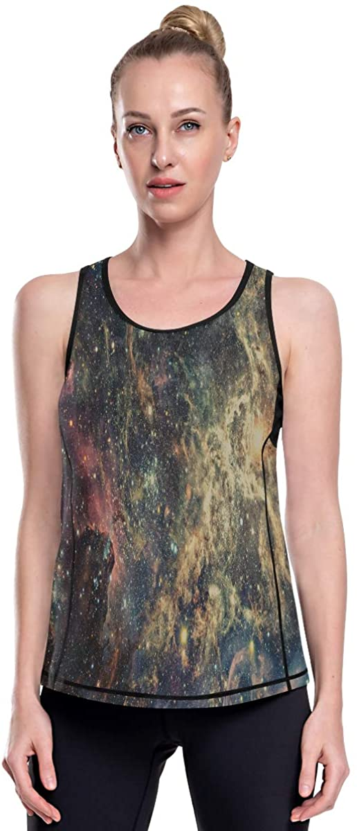 Womens Graphic Tank Tops for Yoga Gym Running Fitness Casual Summer Nebula and Galaxies in Deep Space