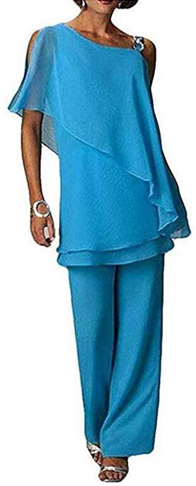 Women Blue 2 Piece Mother of The Bride Pantsuit Half Sleeve Plus Size for Wedding US14
