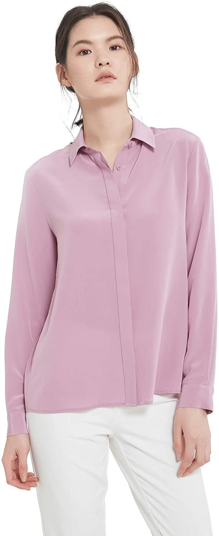 LilySilk Women's 100 Silk Blouse Long Sleeve Lady Shirt 22 Momme Charmeuse Silk