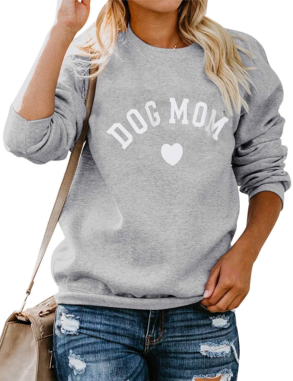 Nonbrand Dog Mom Women Sweatshirt Cute Graphic Tees Shirt Long Sleeve Tops Blouse Pullover (Grey, Small)
