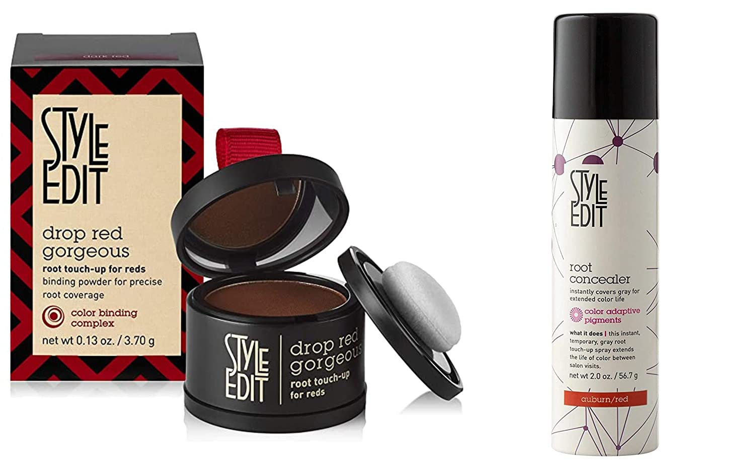 Style Edit Root Concealer Spray and Root Touch Up powder, to Cover Up Roots and Grays, Medium Red Hair Color