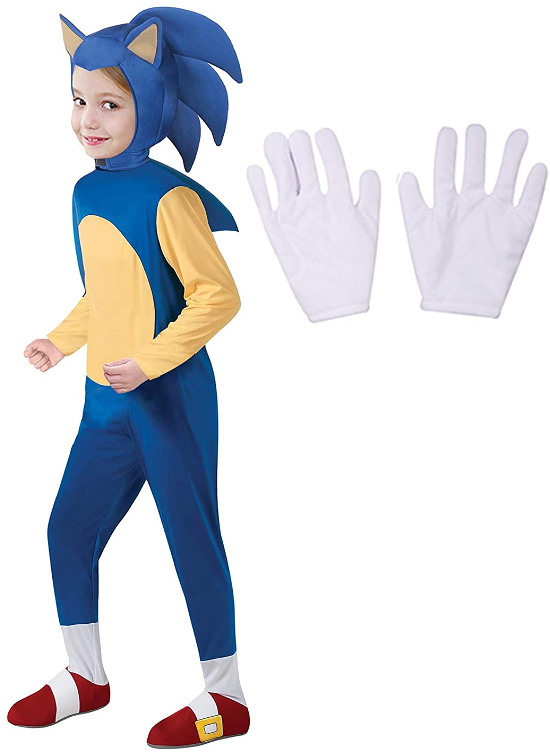 Adang Cartoon Costumes for Kids Cosplay Hedgehog Jumpsuit with Headpiece/Gloves