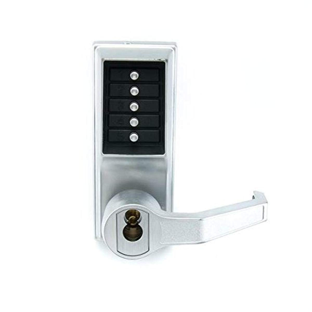 Kaba Simplex LP1000 Series Metal Mechanical Pushbutton Exit Trim Lock with Lever, Combination Entry and Key Override, R/C Schlage, Core Not Included, Satin Chrome Finish, Right Hand