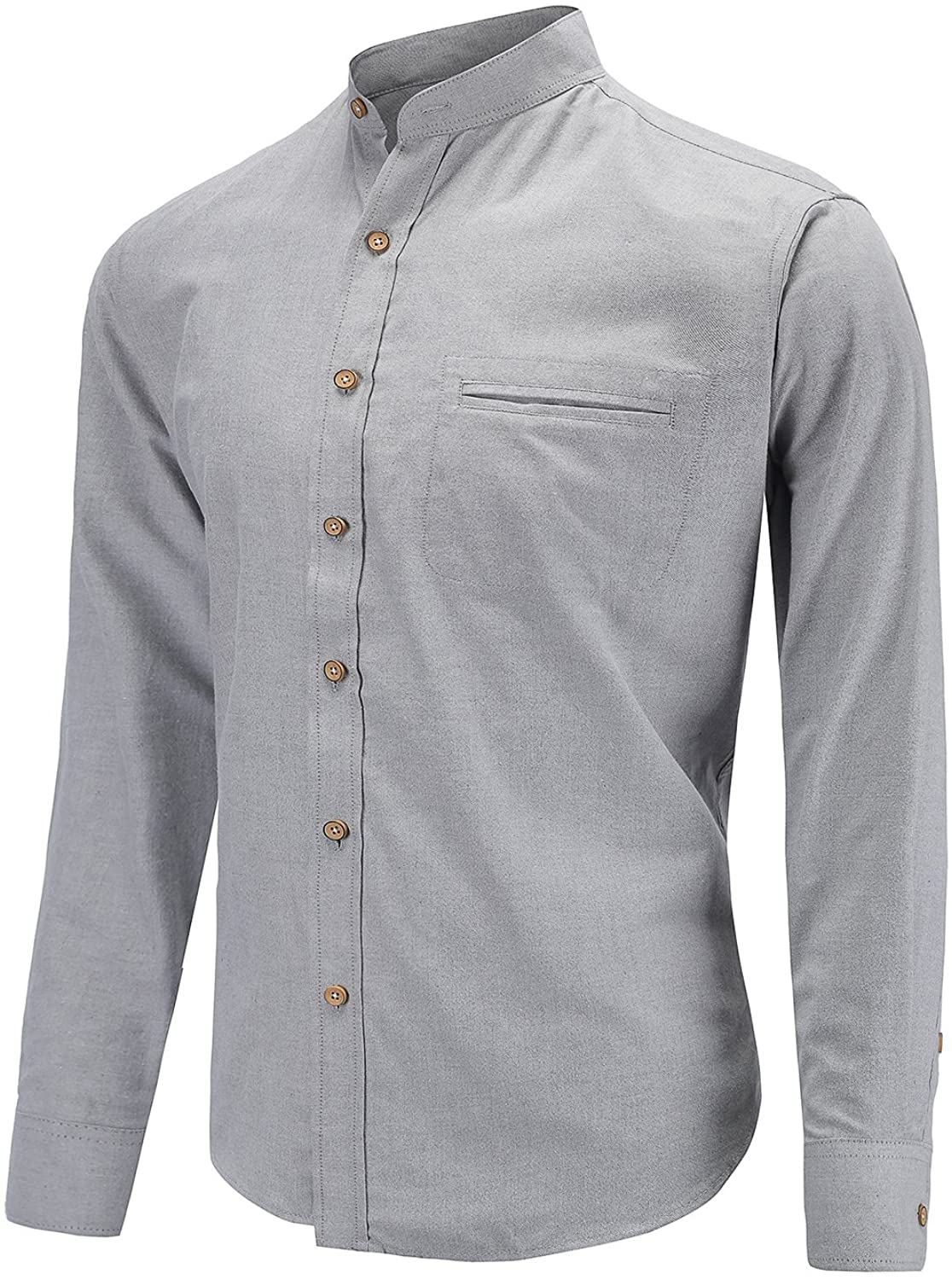 Mens Slim Fit Casual Oxford Dress Shirt Banded Collar Long Sleeve Button Down Shirts with Pocket