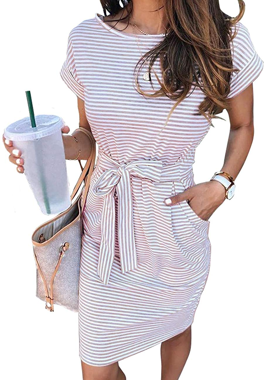 MEROKEETY Women's Summer Striped Short Sleeve T Shirt Dress Casual Tie Waist with Pockets