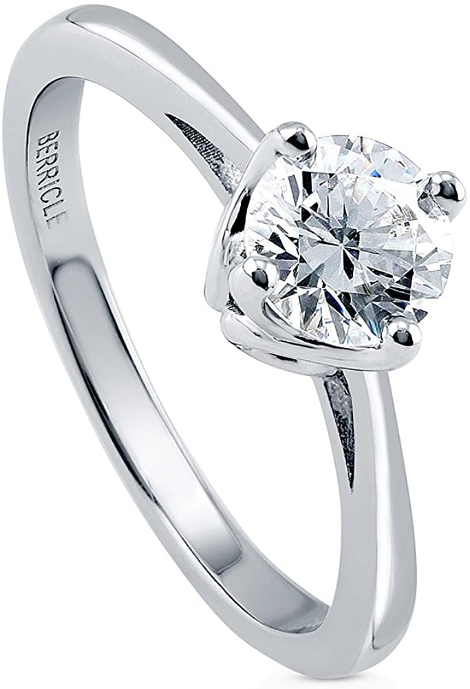 BERRICLE Rhodium Plated Sterling Silver Solitaire Engagement Ring Made with Swarovski Zirconia Round 0.84 CTW
