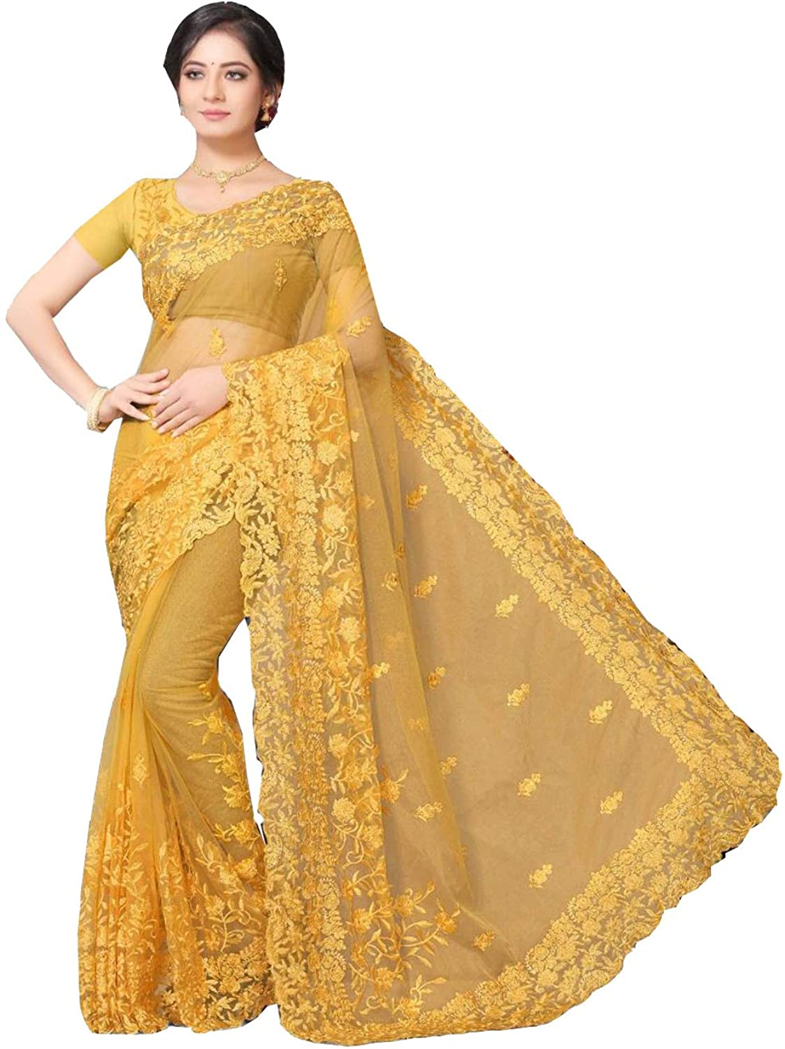 Indian Saree for Women Ethnic Sari Musterd Net Sari with Unstitched Blouse. ICW2772-5