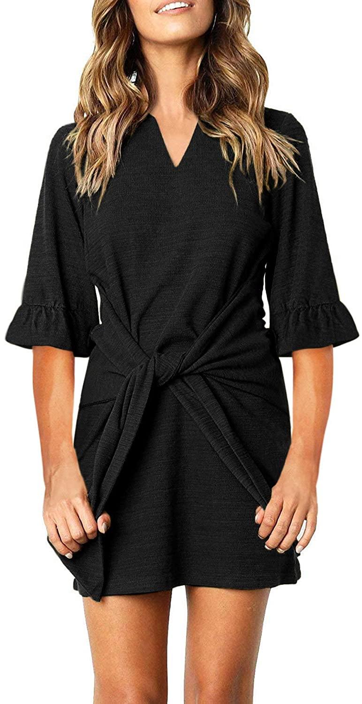 Blibea Women's Short Sleeve Elegant Tie Waist T Shirt Ruched Bodycon Short Mini Dress