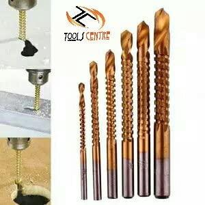 Tools Centre 6Pcs/Set Titanium Plating High-Speed Steel Drill Bits Carpenter Woodworking Drilling Cut Grooving Saw Drill Bits.