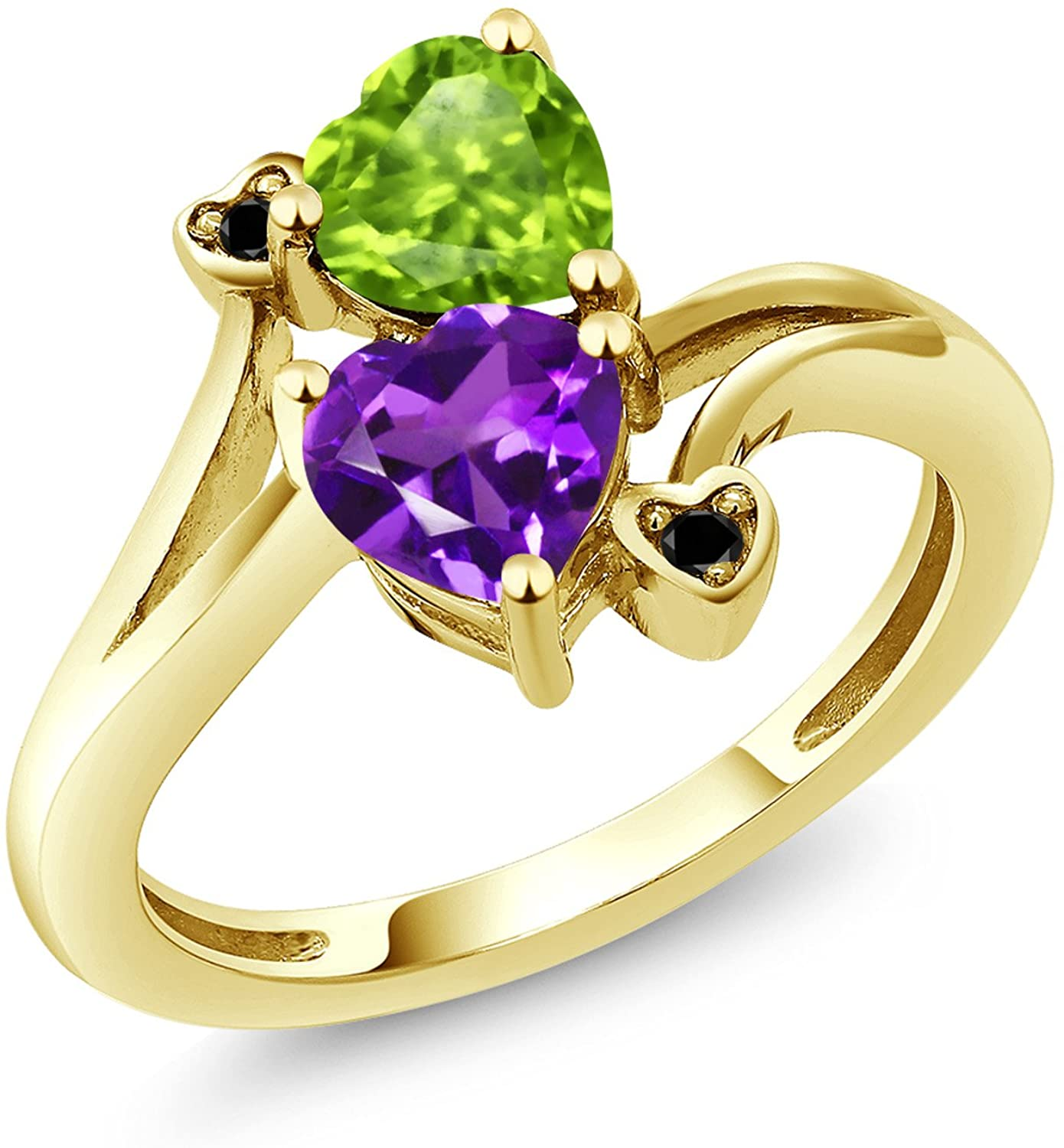 Gem Stone King 10K Yellow Gold Promise Customized and Personalized Build Your Own 2 Birthstone For Her Heart Engagement Ring