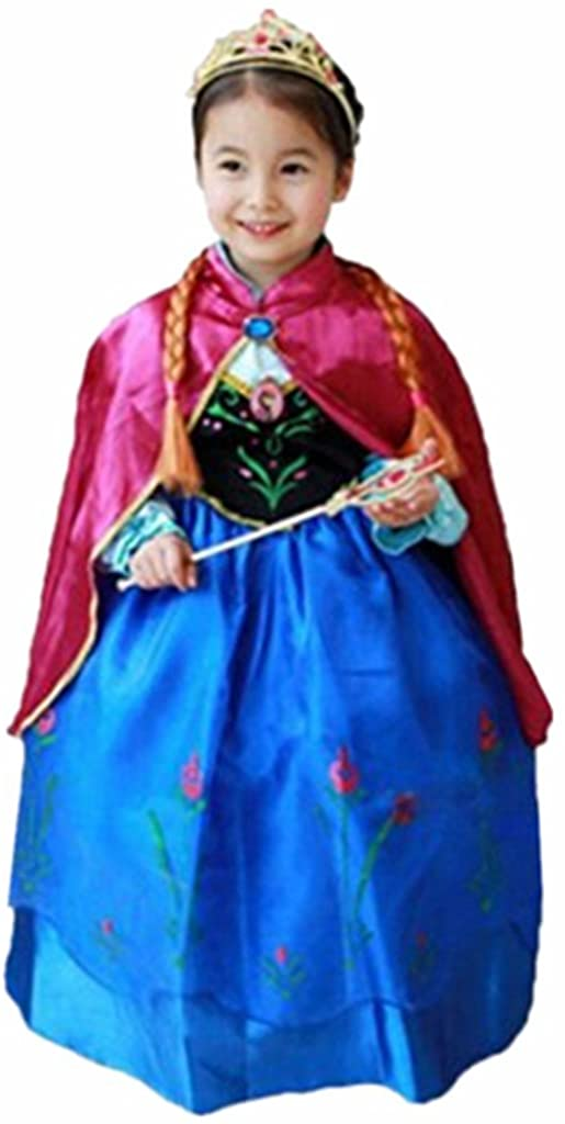 DreamHigh Halloween Princess Anna Costume Girl's Dress with Cape
