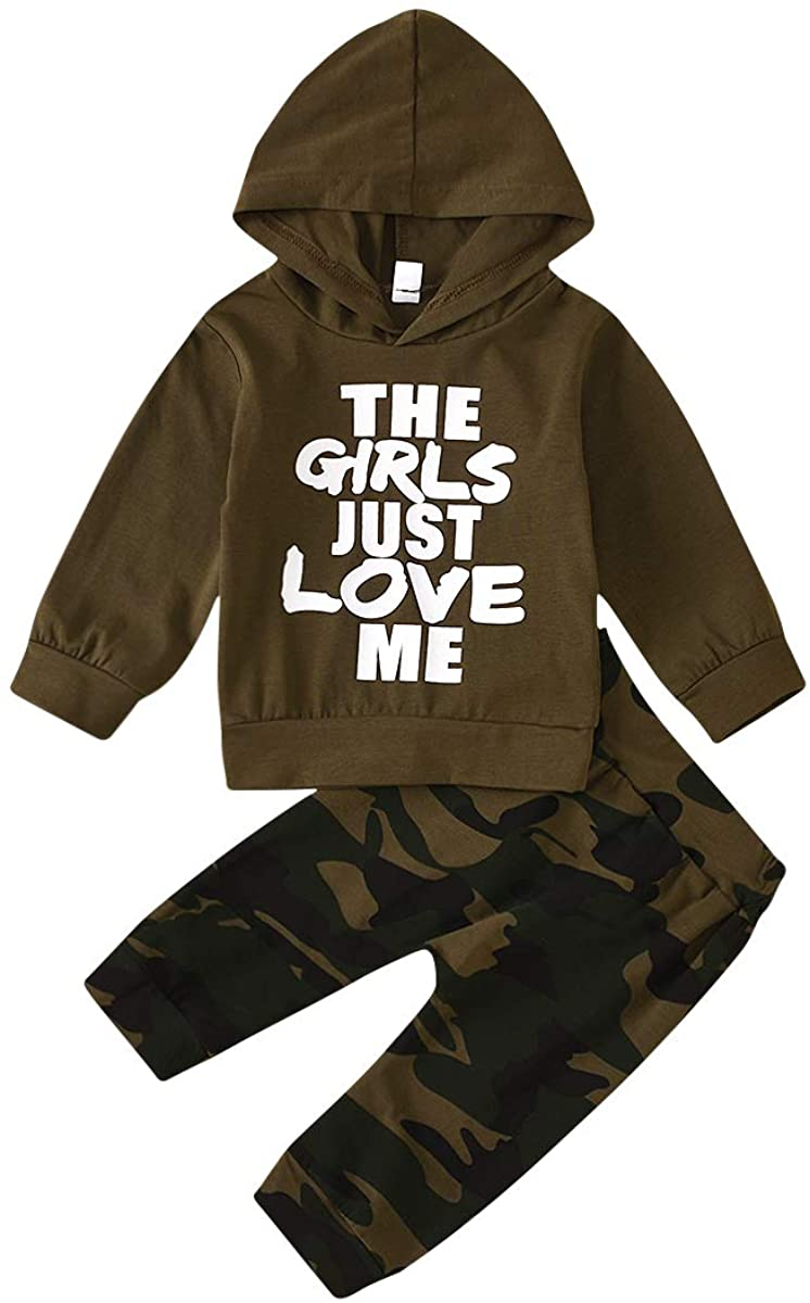 Toddler Baby Boy Clothes Long Sleeve Hoodie Sweatshirt Camouflage Pants 2pcs Outfits Set