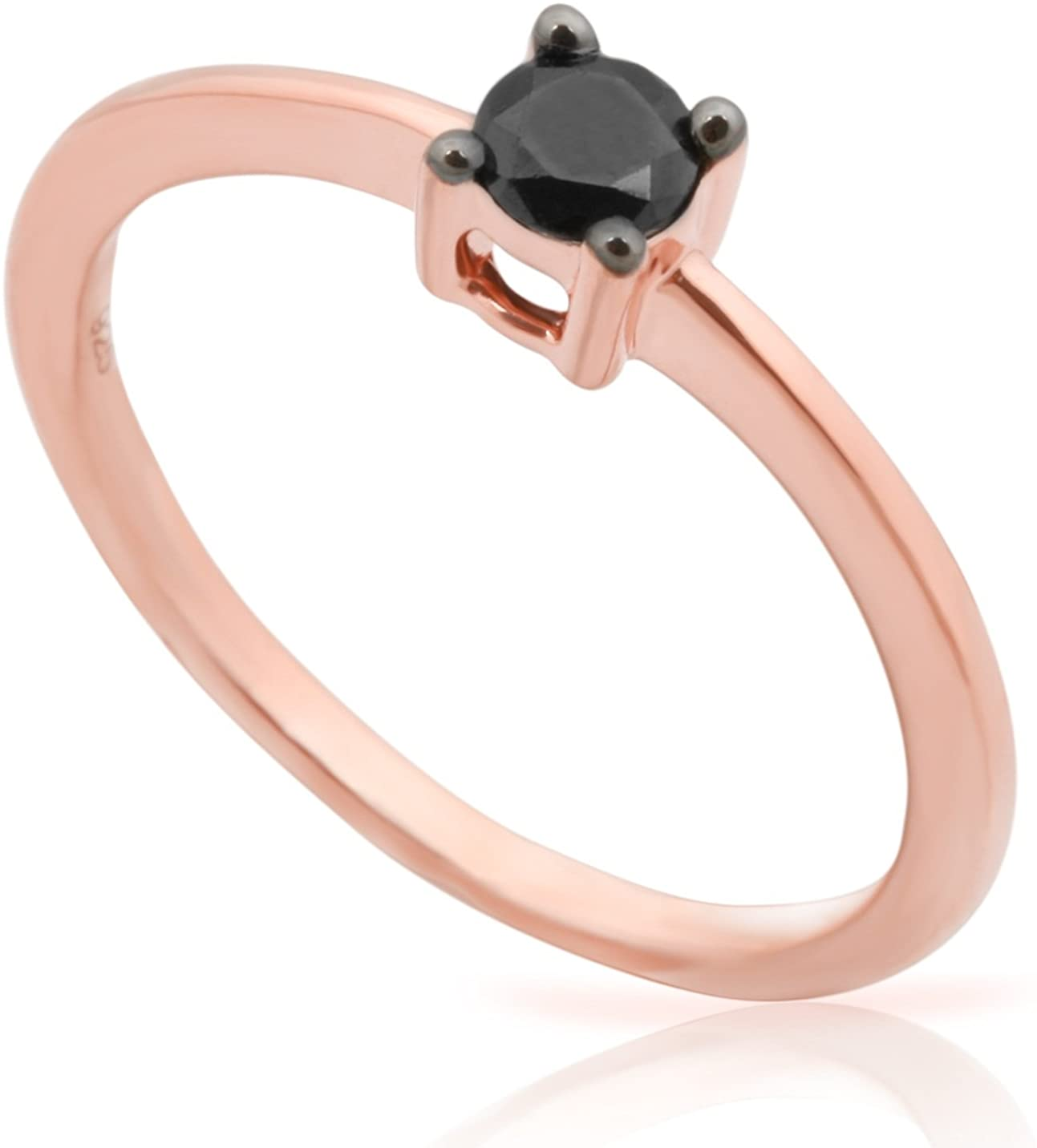 Prism Jewel 0.36Ct Black Diamond Solitaire Engagement Ring Crafted in 10k Rose Gold, Size 9.5