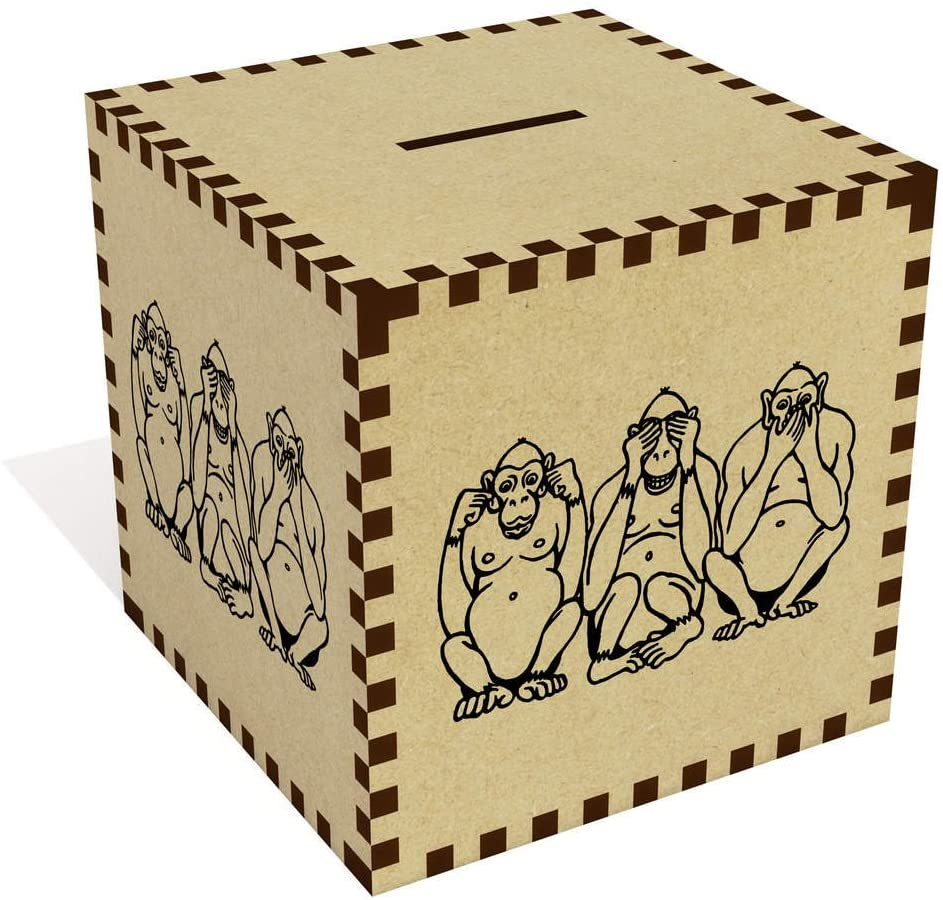 Azeeda Large 'Three Wise Monkeys' Money Box / Piggy Bank (MB00062350)