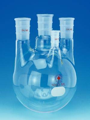 ACE Glass 6953-224 Four Neck Boiling Flask, Round Bottom, Heavy Wall, 2L Capacity, 29/42 Center Joint, Two 24/40 Joint, One 10/30 Side Joint