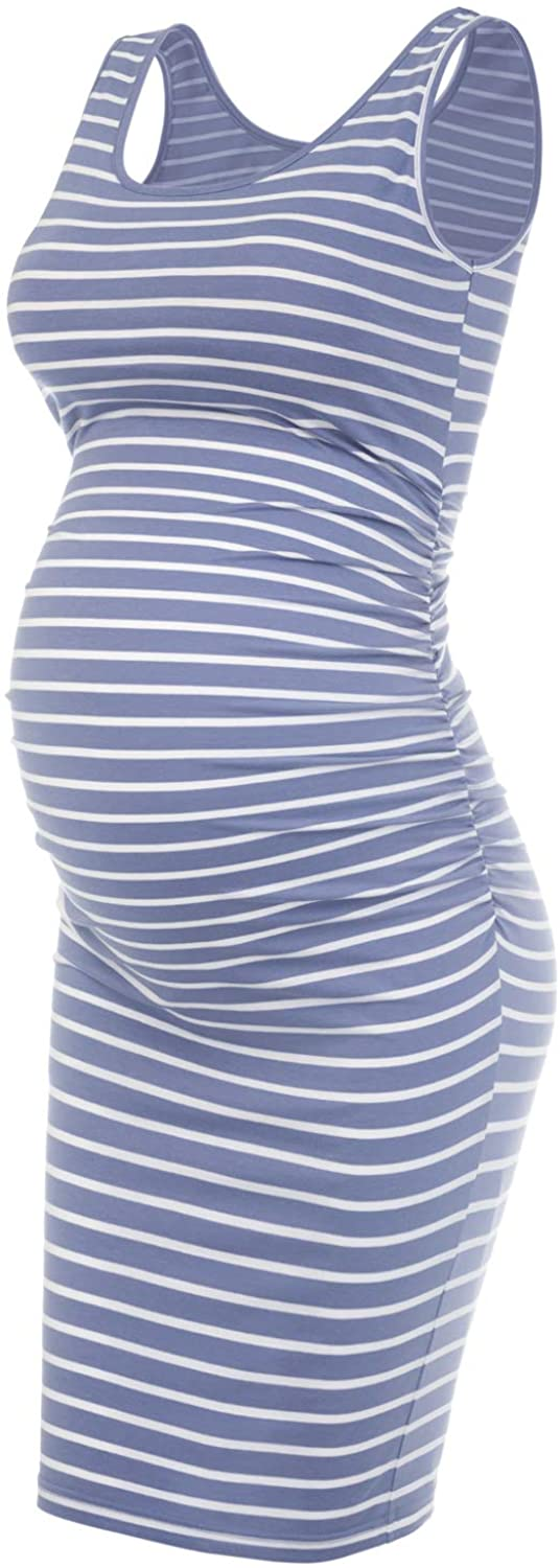 Musidora Maternity Dress for Special Occasion Blue White Stripe XL