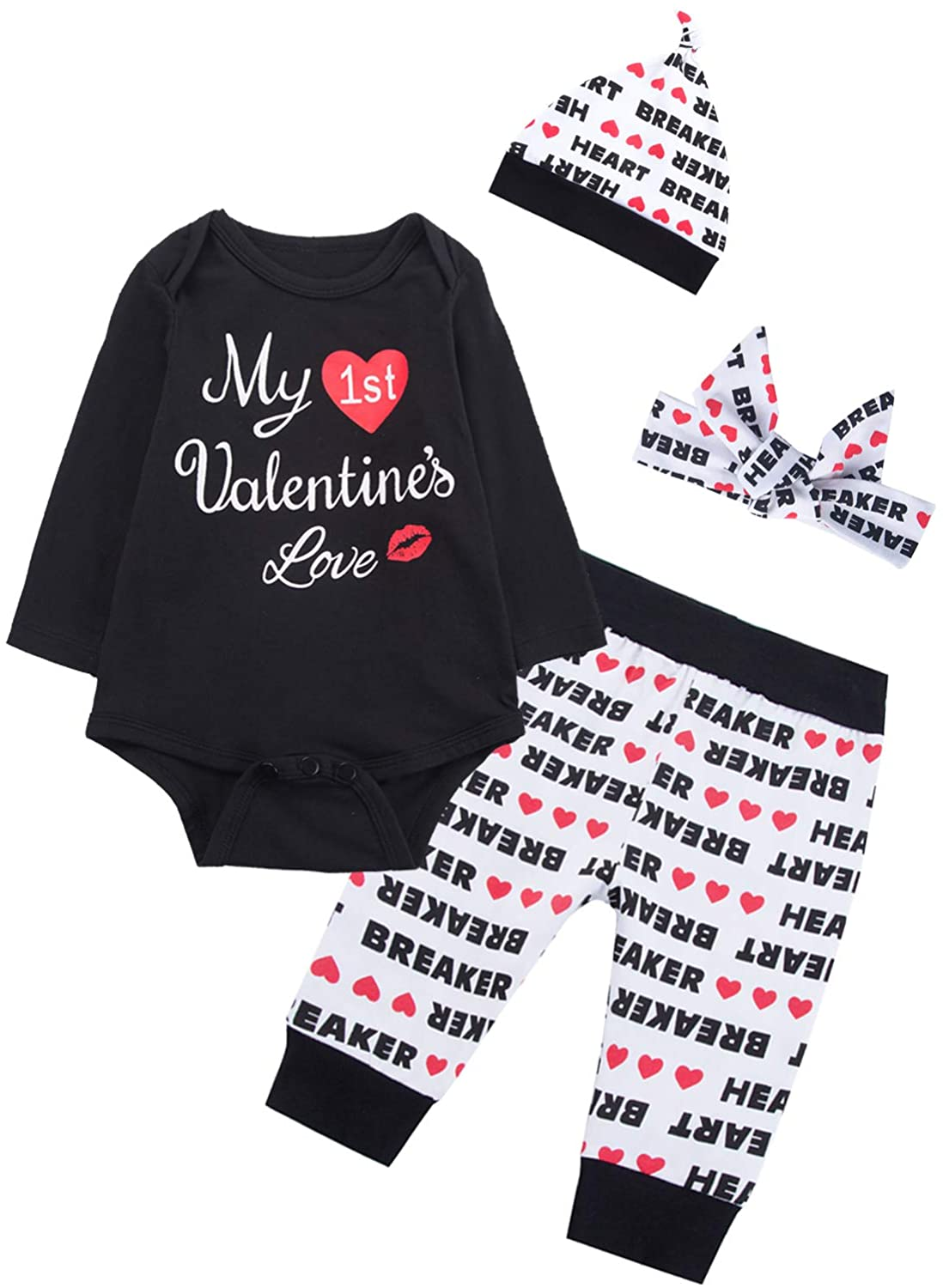 4PCS Baby Boys Girls My First Valentine's Outfit Set Heart Breaker Long Sleeve Bodysuit