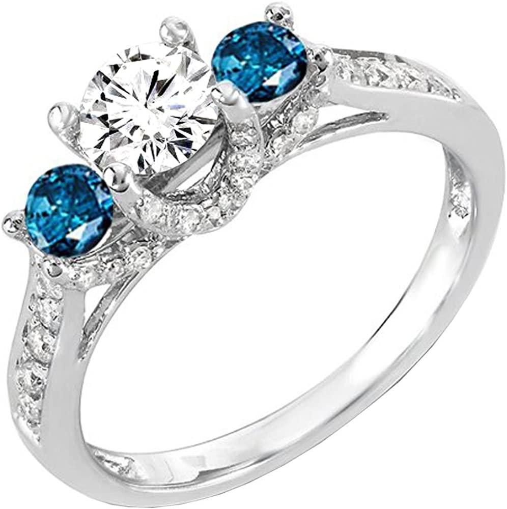 Dazzlingrock Collection 1.00 Carat (ctw) 14k Round White And Blue Diamond 3 Stone Ladies Bridal Engagement Ring 1 CT, White Gold