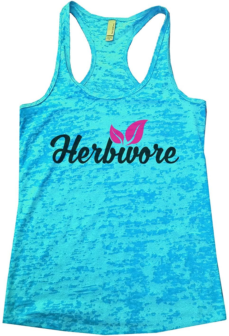 "Funny Threadz Womans Burnout Tank Top ""Herbivore"" Vegetarian Tank Top"