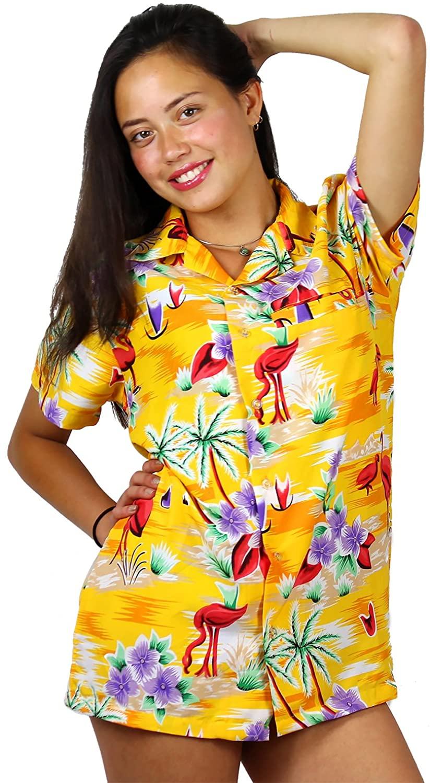 Hawaiian Blouse Shirt for Women Funky Casual Button Down Very Loud Shortsleeve Flamingos