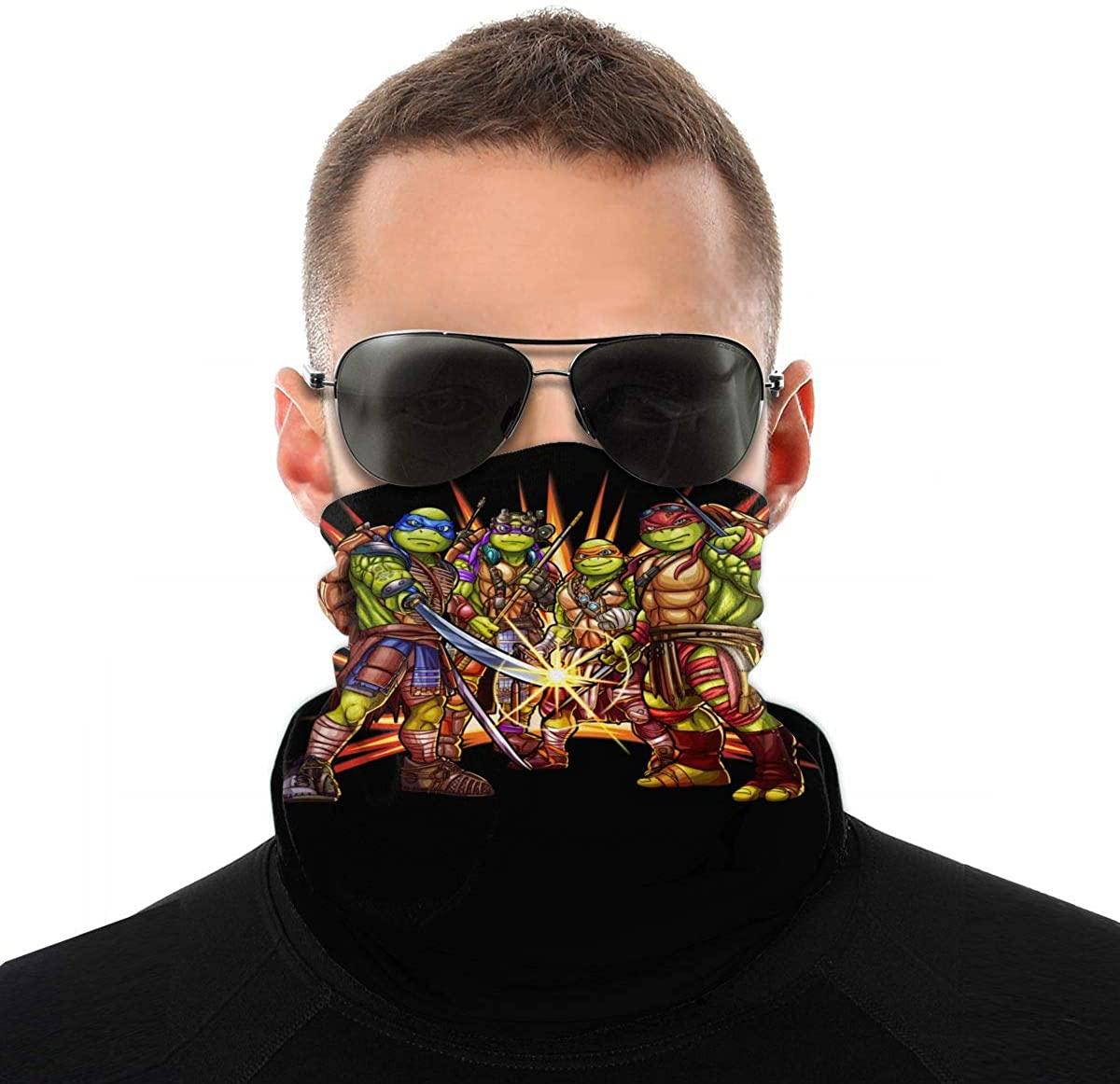 Teenage Mutant Ninja Face Mask Bandana Neck Gaiter Tube Headwear Bandana, Seamless Rave Face Mask Scarf