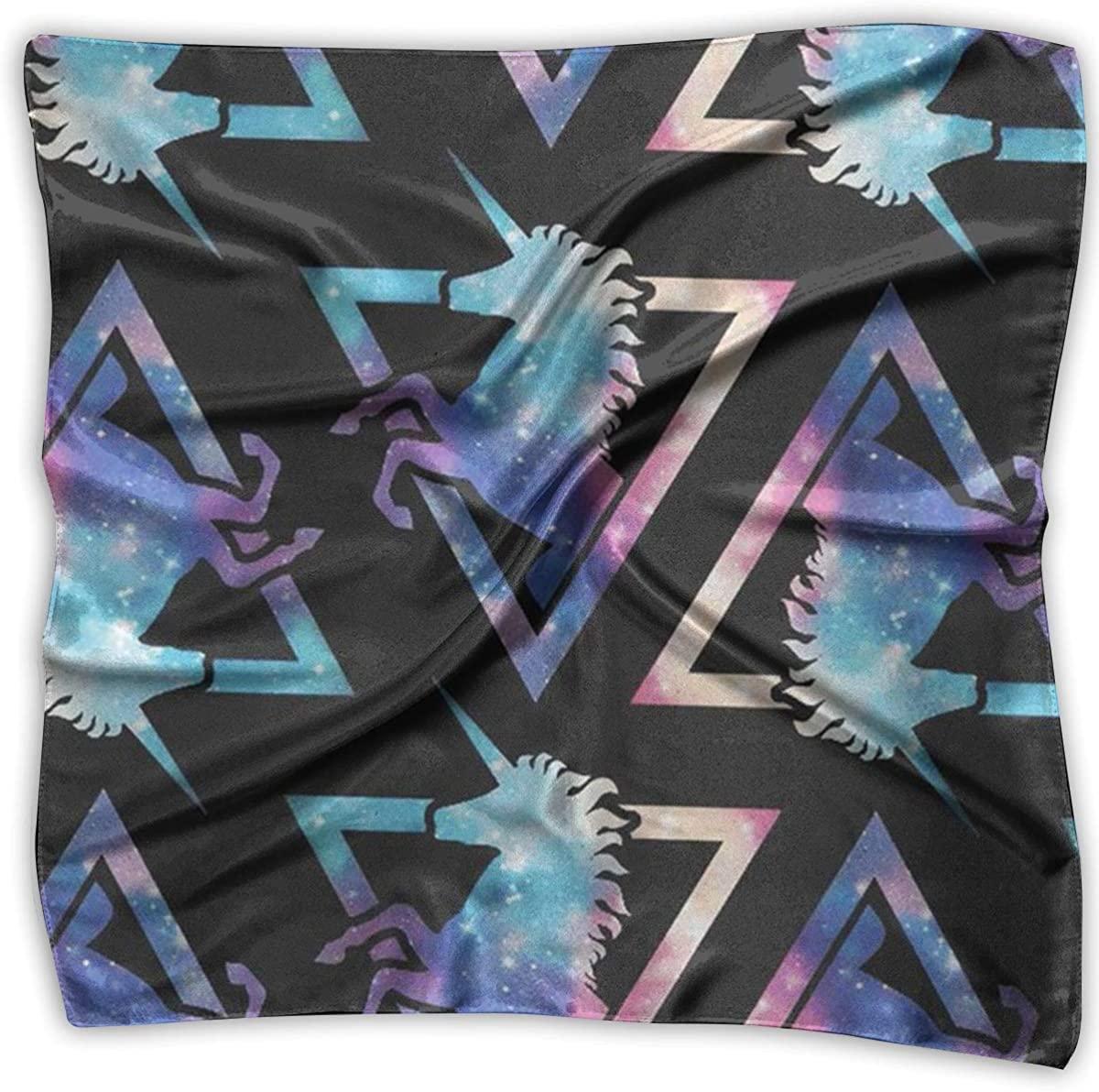 Women's Square Handkerchief Galaxy Unicorn Neck Head Scarf Bandanas