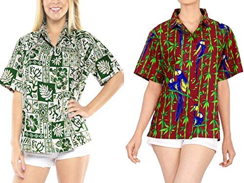 LA LEELA Women's Hawaiian Blouse Shirt Short Sleeve Button Up Shirt Work from Home Clothes Women Beach Shirt Blouse Shirt Combo Pack of 2 Size Small
