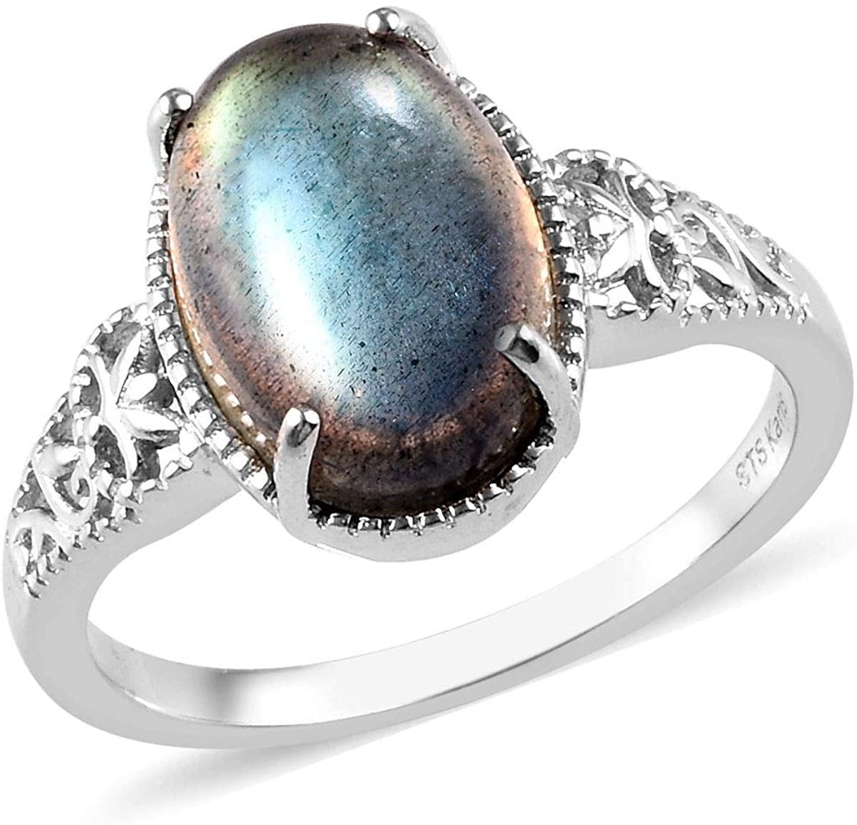 Shop LC Delivering Joy Karis Platinum Plated Oval Labradorite Solitaire Ring Costume Unique Fashion Jewelry for Women Size 9